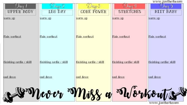 never miss a workout worksheet